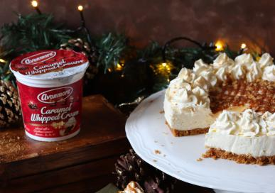 NO BAKE CARAMEL CHEESECAKE WITH A GINGER NUT CRUST AND AVONMORE CARAMEL WHIPPED CREAM FROSTING