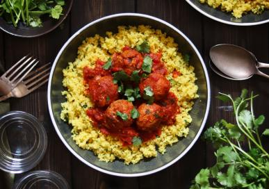 Moroccan Turkey meatballs with lemony couscous