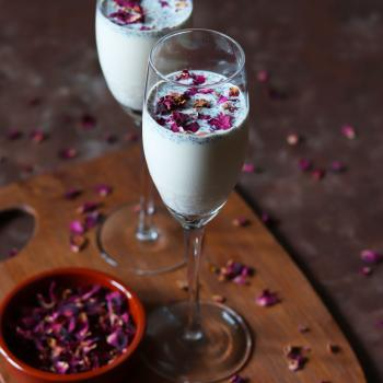 Chia Milk with dried Rose petals