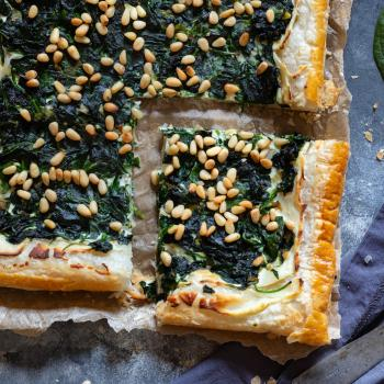 Spinach and ricotta tart with pine nuts